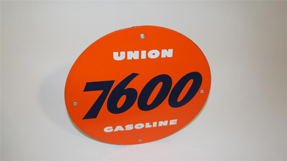 N.O.S. late 1950's Union 7600 Gasoline porcelain pump plate sign. - Front 3/4 - 170802