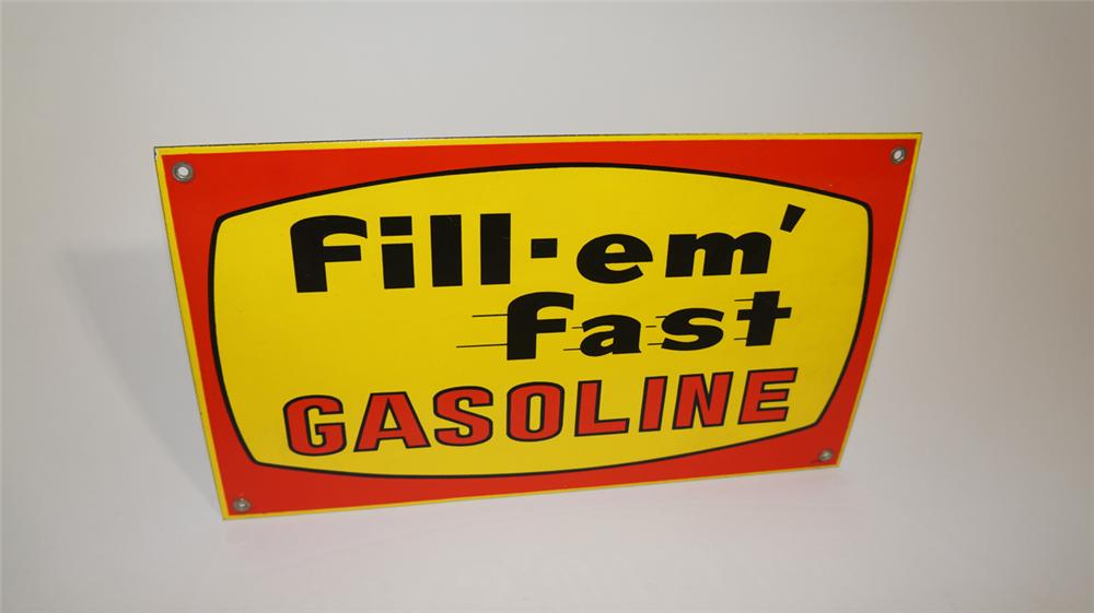 Unusual N.O.S. 1950'-60's  Fill-Em Fast Gasoline porcelain pump plate sign. - Front 3/4 - 170803