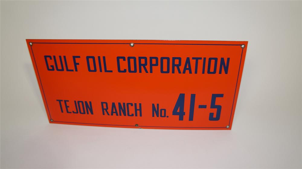 Hard to find 1950's Gulf Oil porcelain oil well field sign. - Front 3/4 - 170804