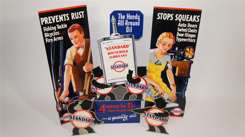 N.O.S. 1931 Standard Oil five-piece service station display cardboard for Standard Household Lubricant. - Front 3/4 - 170808