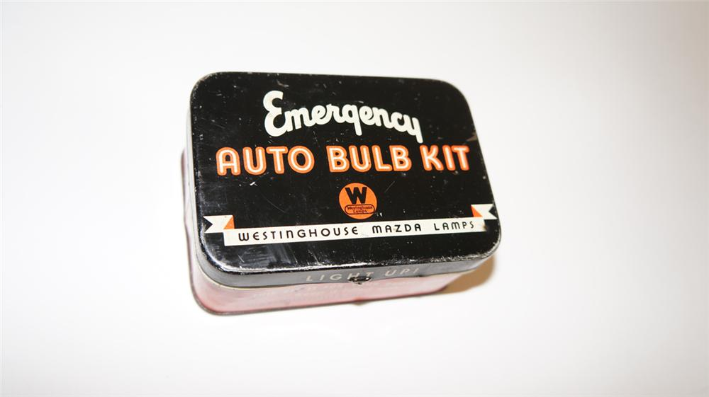 1930's Westinghouse Mazda Lamps Emergency Auto Bulb Kit tin. - Front 3/4 - 170810