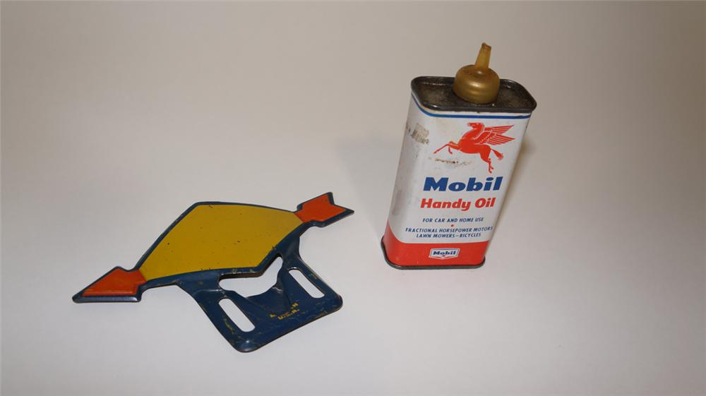 Lot consisting of a 1950's Mobil Handy Oiler and a 1920's-30's Sunoco Motor Oil license plate attachment sign. - Front 3/4 - 170814