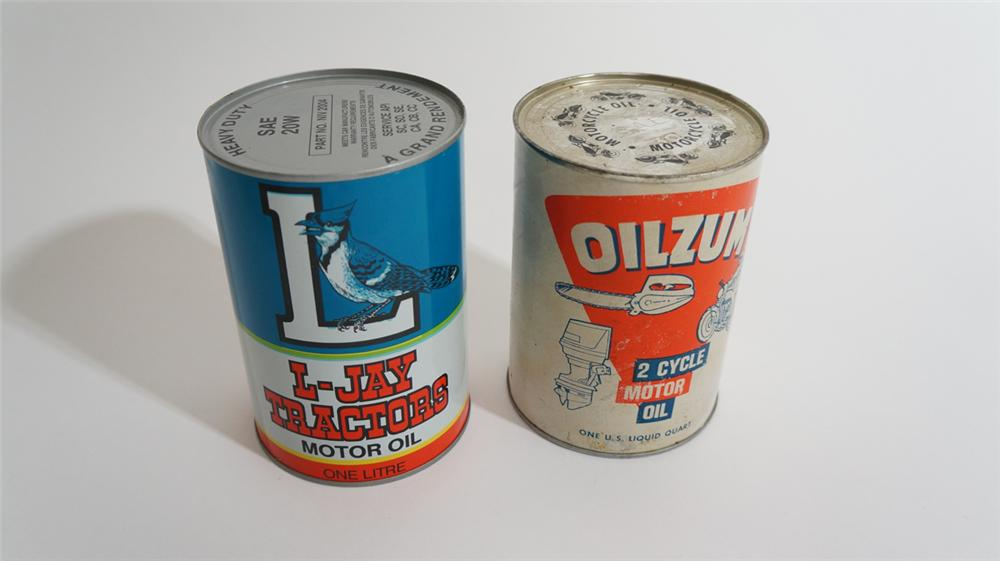 Lot of two vintage motor oil quarts consisting of L-Jay Tractor Oil and Oilzum 2 cycle oil. - Front 3/4 - 170815