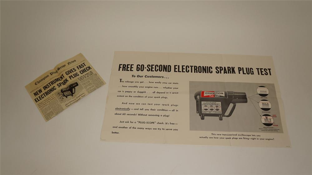 Lot of two N.O.S. 1959 Champion Spark Plug Instrument tester promotional posters. - Front 3/4 - 170823