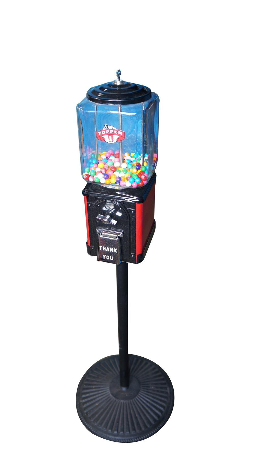 Wonderful 1940's-50's restored Topper one cent glass domed gumball machine on stand. - Front 3/4 - 170873