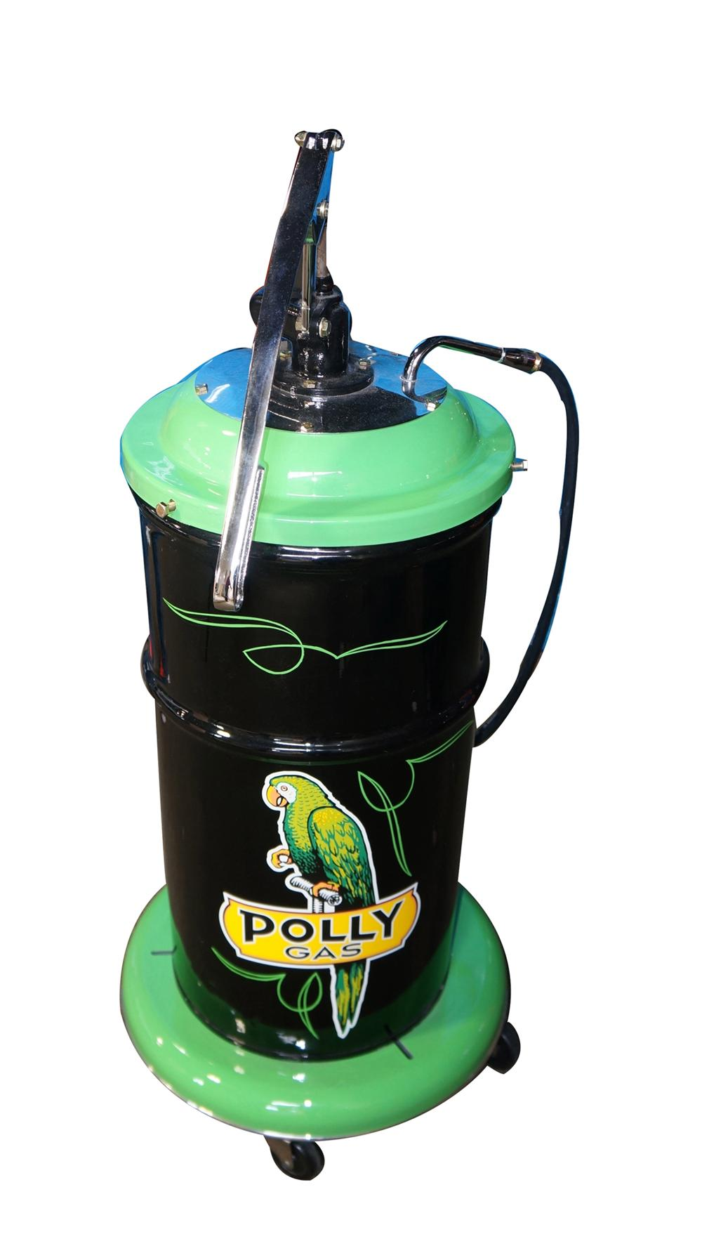 1930's-40's restored Polly Oil 25 gallon service department hand pump greaser on wheels. - Front 3/4 - 170881