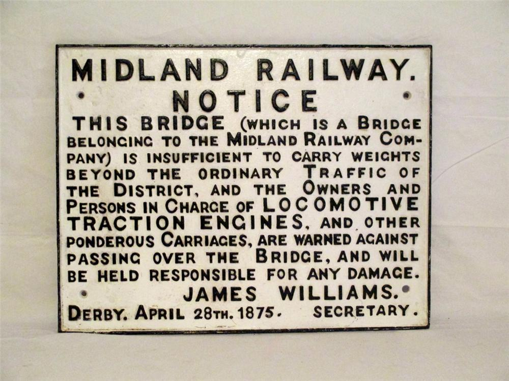 Early one of a kind 1875 Derby England Midland Railway Bridge notice raised letter cast iron sign. - Front 3/4 - 170886