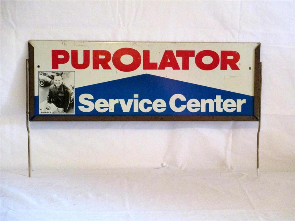 1966 Purolator Oil Filter gas station display topper sign featuring A.J Foyt. - Front 3/4 - 170889