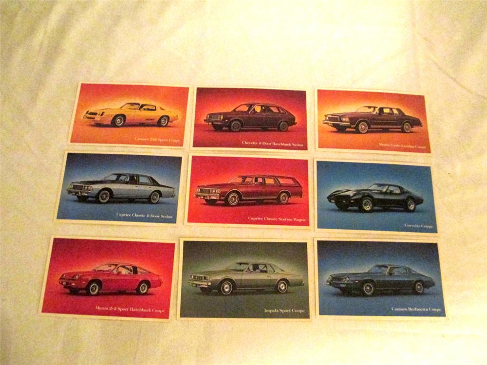 N.O.S. set of 9 1979 Chevrolet dealer showroom cards including; Z-28 Camaro, Corvette, Monte Carlo, Camaro Berlinetta and others. - Front 3/4 - 170892