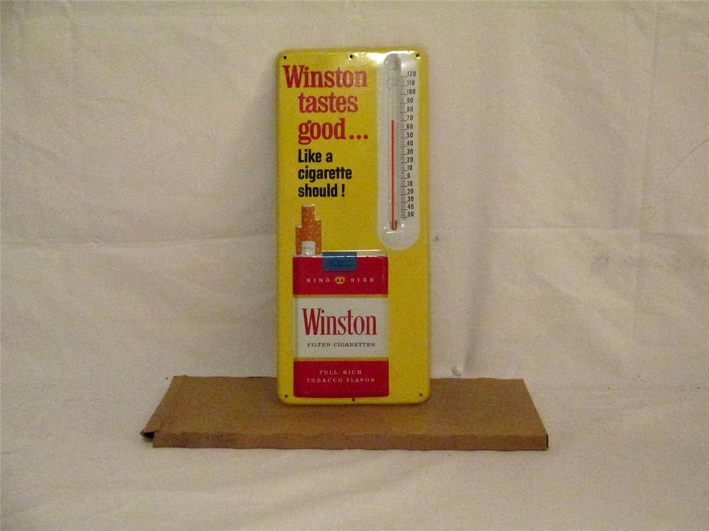 "N.O.S. Winston Cigarettes ""Tastes Good like a Cigarette Should"" embossed tin thermometer. - Front 3/4 - 170897"