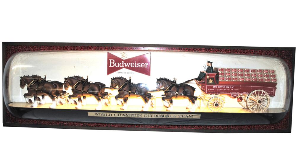 Large three dimensional 1960's Budweiser lighted tavern sign with Clydesdale team. - Front 3/4 - 170905