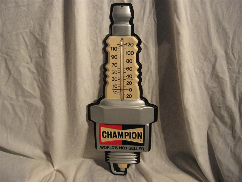 Vintage Champion Spark plug shaped automotive garage thermometer found in wonderful condition. - Front 3/4 - 170908