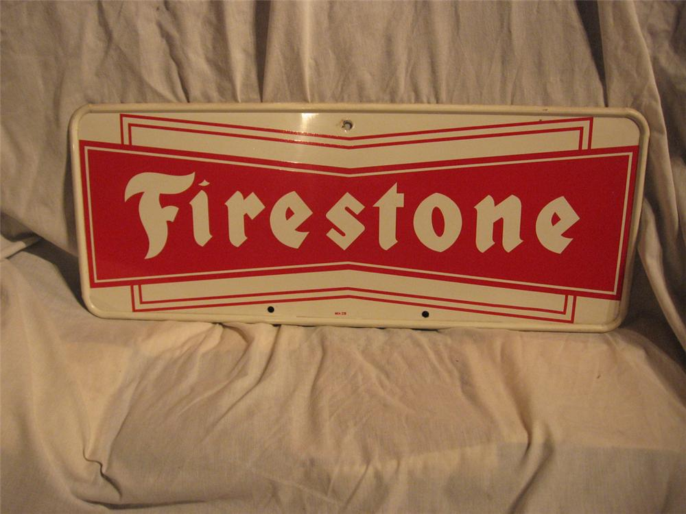 Very nice vintage Firestone Tires single-sided tin automotive garage sign. - Front 3/4 - 170909
