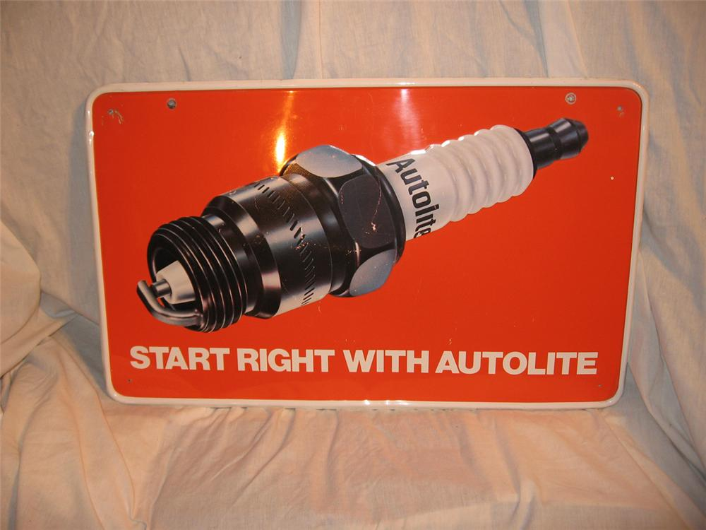 Very sharp Autolite spark plug tin sign with plug graphic. - Front 3/4 - 170910