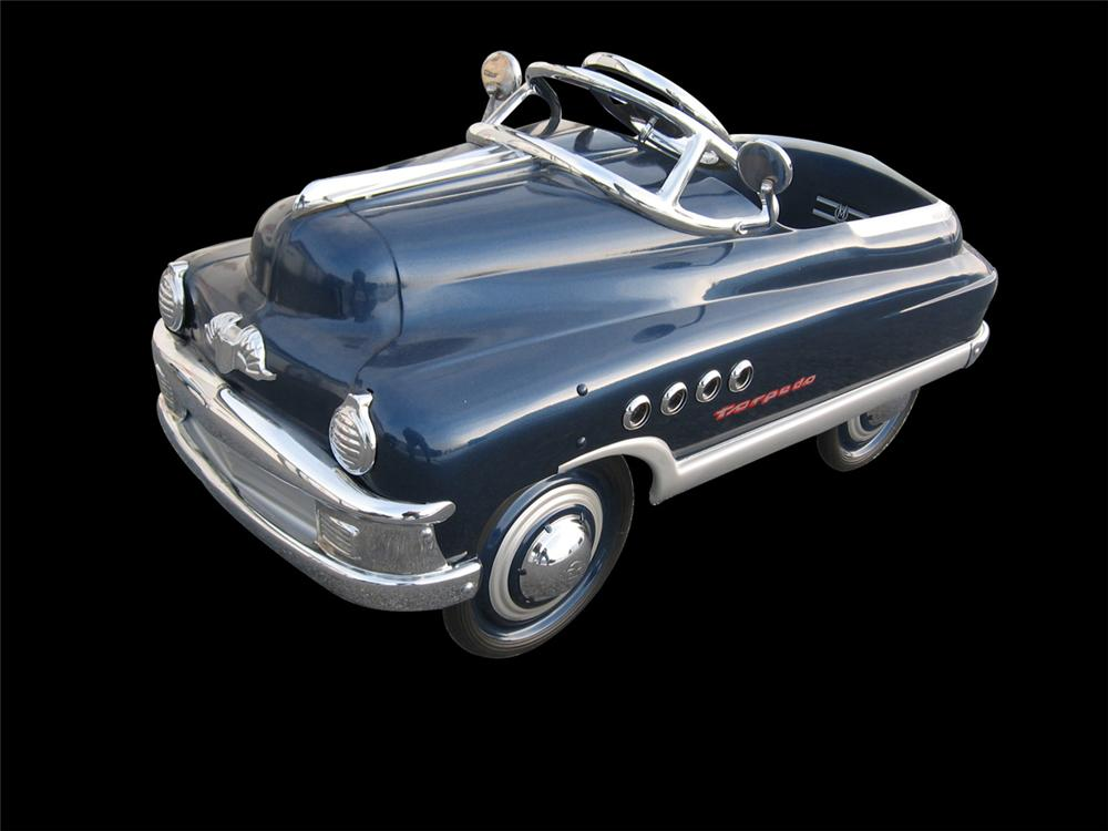 Absolutely wonderful restored original 1952 Murray Torpedo pedal car. - Front 3/4 - 170914