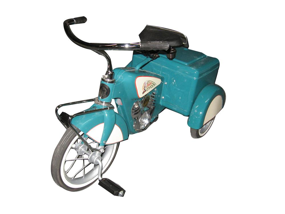 Restored vintage Evan's three wheeled service trike. Custom painted into an Indian Motorcycle. - Front 3/4 - 170916