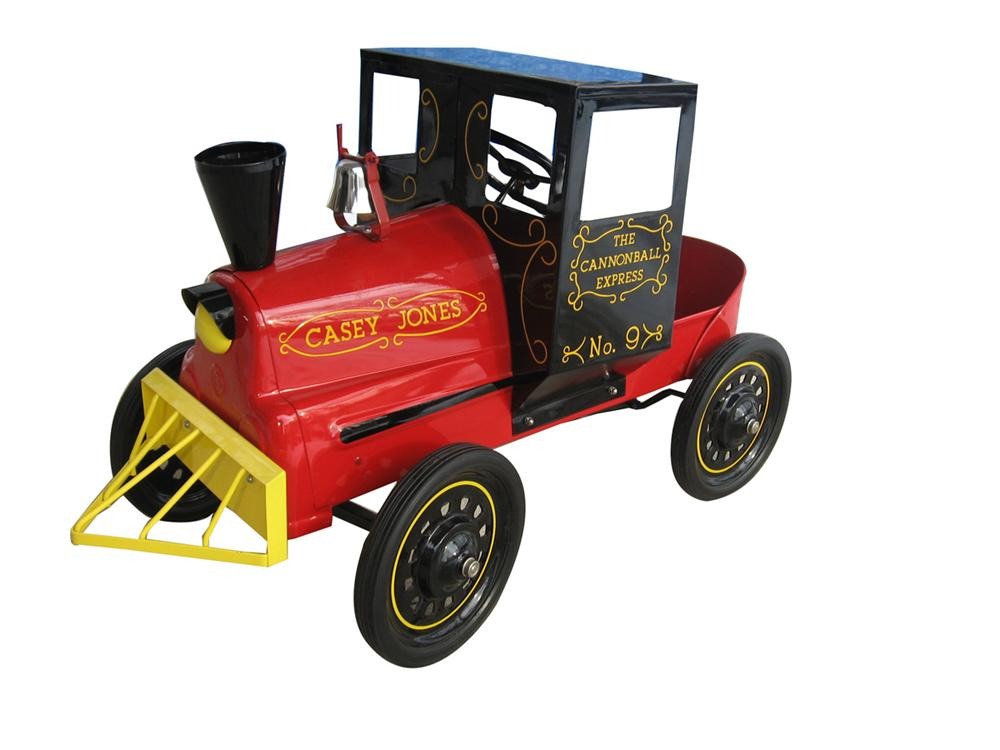 "Beautiful 1950's Casey Jones ""The Cannon Ball Express #9"" completely restored pedal train. - Front 3/4 - 170918"