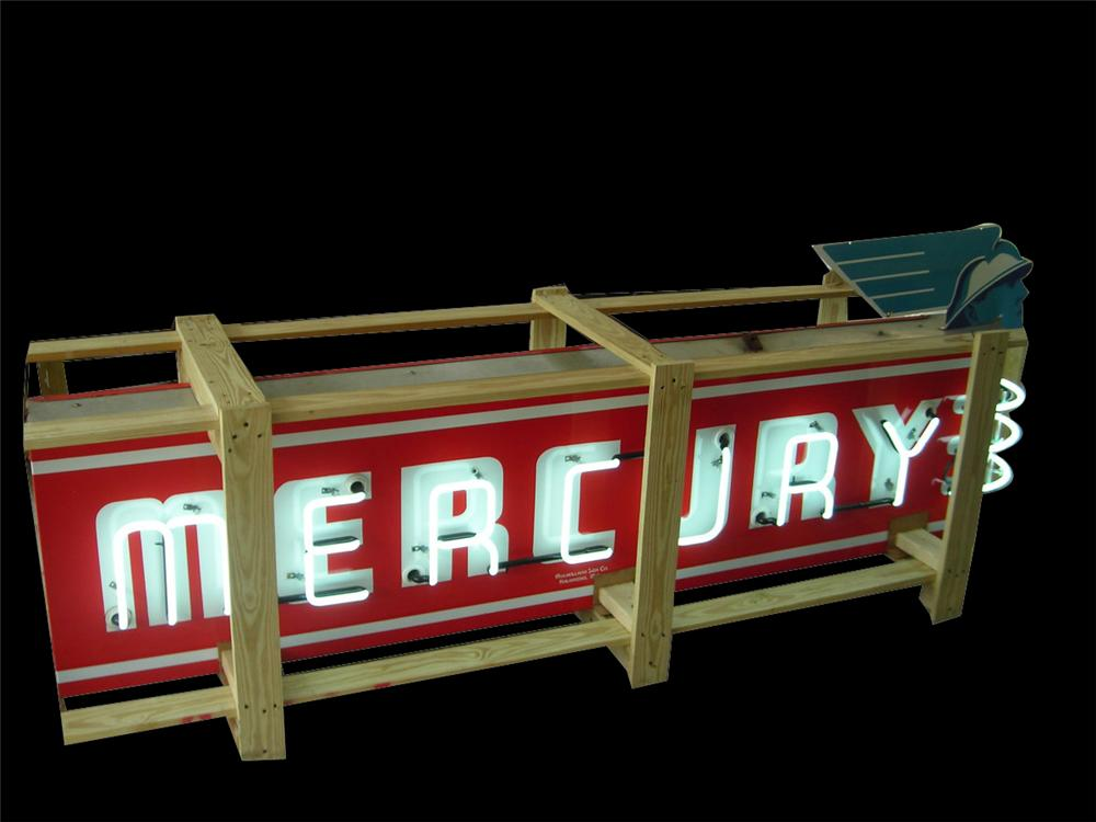 Impressive 1940's Mercury Automobiles double-sided neon porcelain dealership sign with porcelain Mercury head marquee. - Front 3/4 - 170927