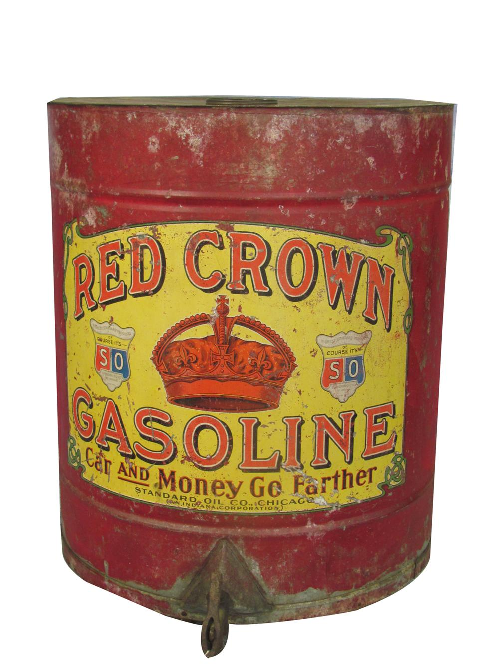Museum quality early teen's Standard Red Crown Gasoline filling station counter-top or wagon mounted gas dispensing can with brass nozzle attached. - Front 3/4 - 170931