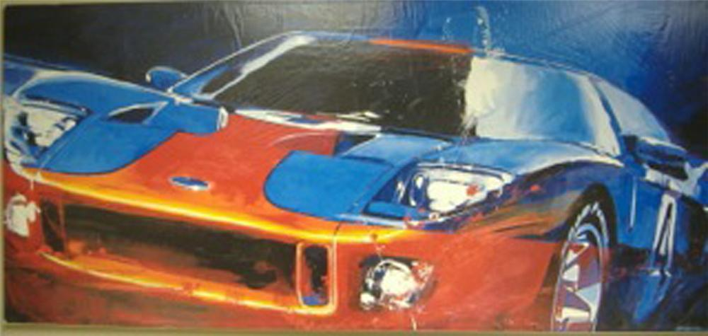 Very nice Ford GT oil painting depicting a stylish Ford GT sporting the race bred Gulf colors. - Front 3/4 - 170933