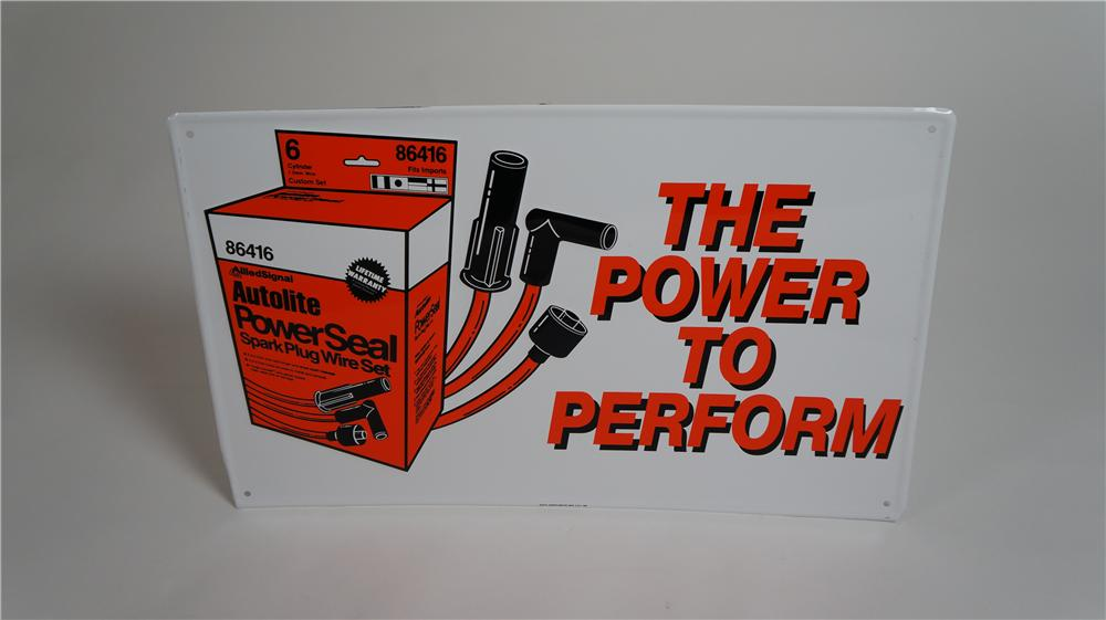 "N.O.S. 1960's Autolite ""The Power to Perform"" Spark Plug Wire Set single-sided tin garage sign with graphics. - Front 3/4 - 174768"