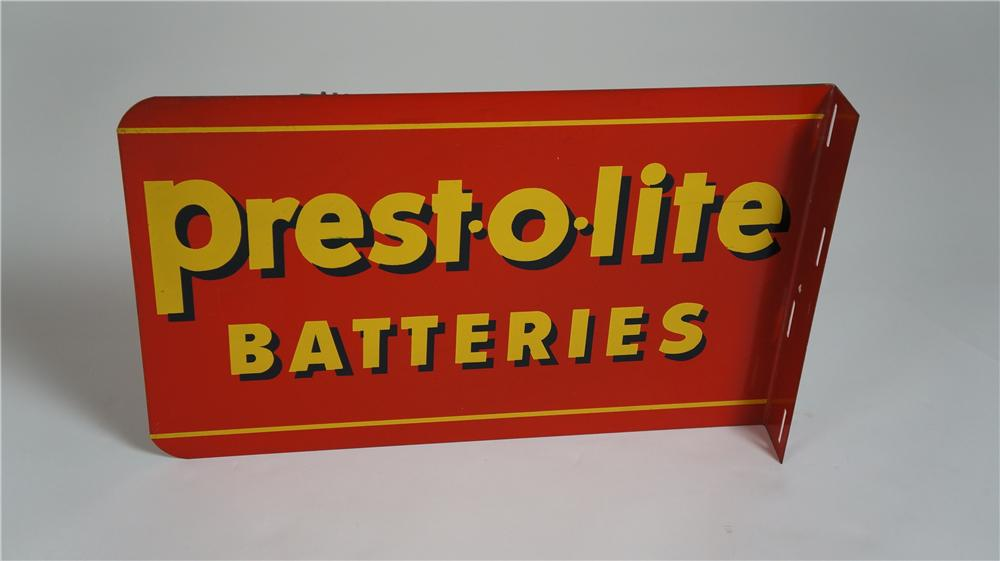 N.O.S. 1940's Prest-o-lite Batteries double-sided tin automotive garage flange sign. - Front 3/4 - 174771