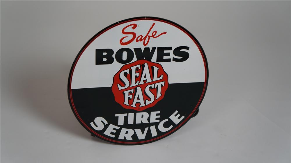 "N.O.S. 1950's Bowes Safe ""Seal Fast"" Tire Service single-sided tin service station sign. - Front 3/4 - 174772"