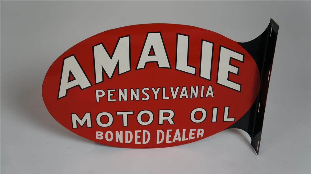 "N.O.S. 1954 Amalie Pennsylvania Motor Oil ""Bonded Dealer"" double-sided tin service station sign. - Front 3/4 - 174774"
