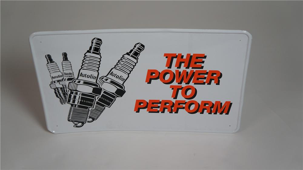 "N.O.S. AutoLite Spark Plugs ""The Power to Perform"" single-sided tin automotive garage sign with spark plug graphics. - Front 3/4 - 174775"