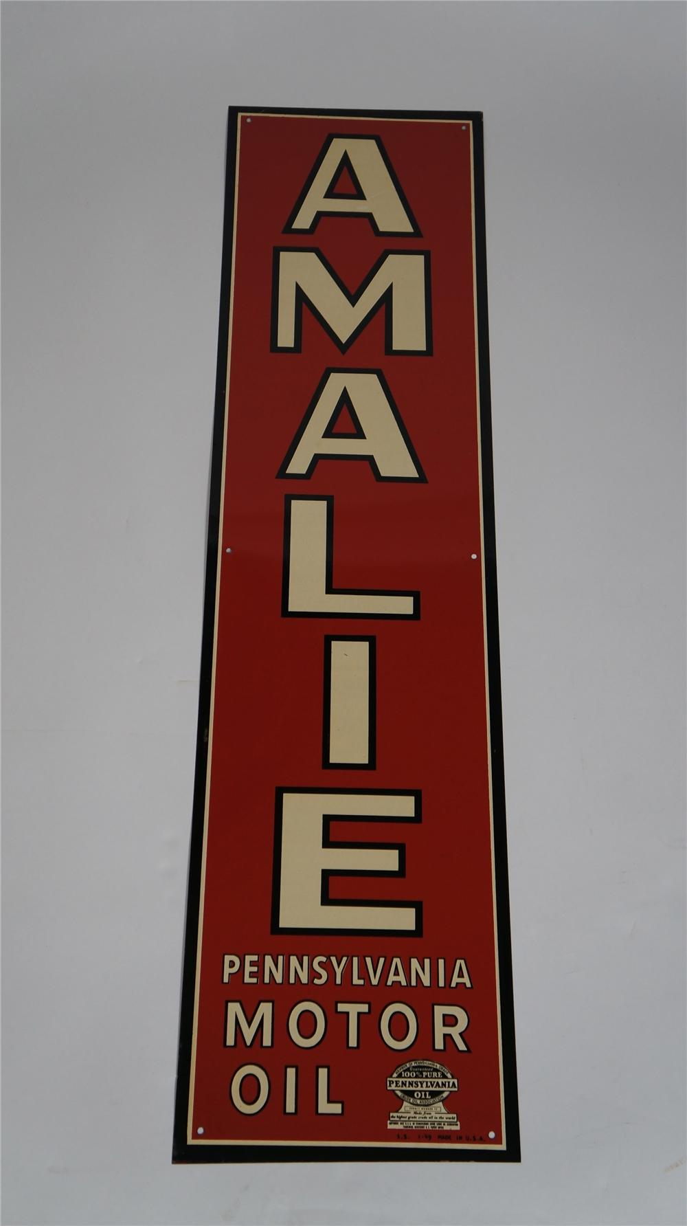 "N.O.S. 1949 Amalie ""Pennsylvania Motor Oil"" single-sided embossed tin sign. - Front 3/4 - 174778"
