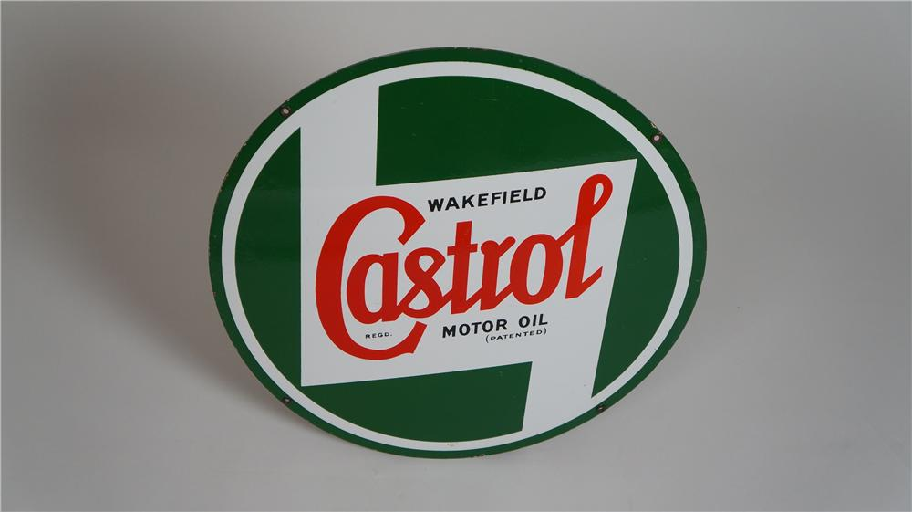 Choice 1950's Castrol Motor Oil single-sided porcelain automotive garage sign. - Front 3/4 - 174780
