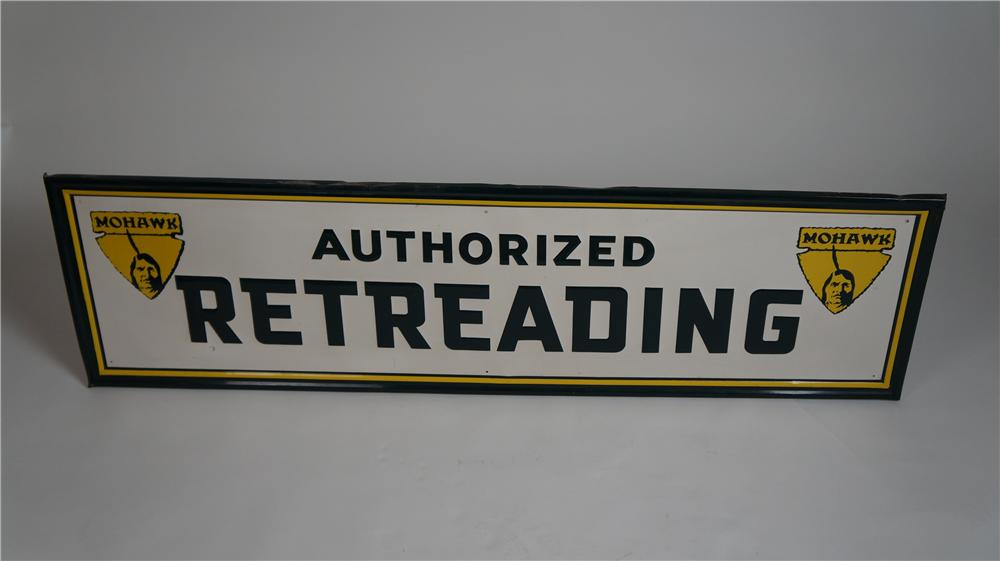 "Seldom Seen 1950's Mohawk Tires ""Authorized Retreading"" self-framed tin automotive garage sign with nice Mohawk graphics. - Front 3/4 - 174782"
