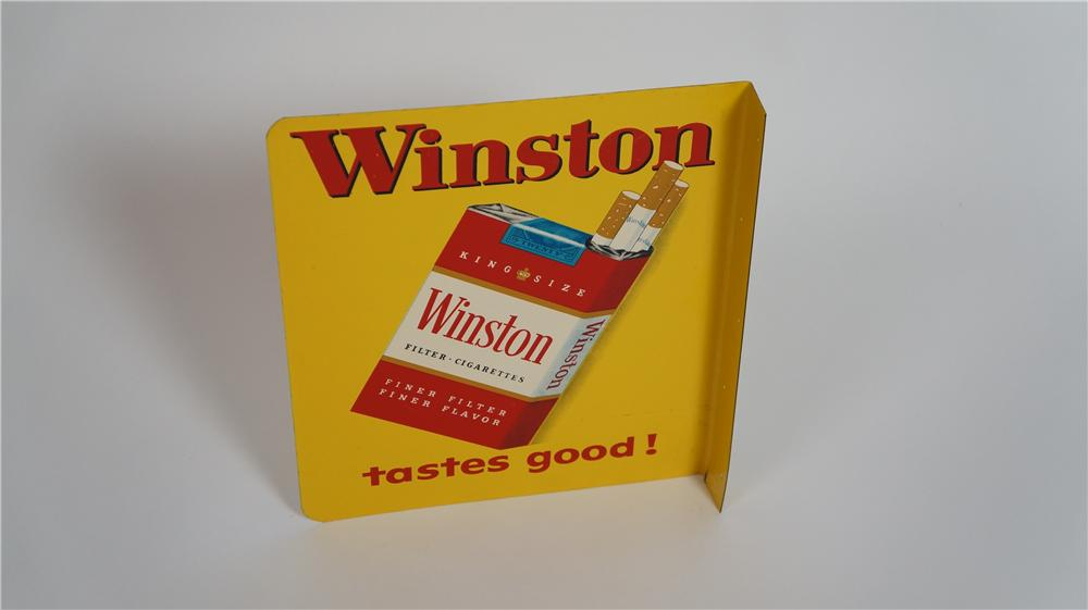"Sharp 1955 Winston ""Tastes Good"" Cigarettes double-sided tin flange. - Front 3/4 - 174794"