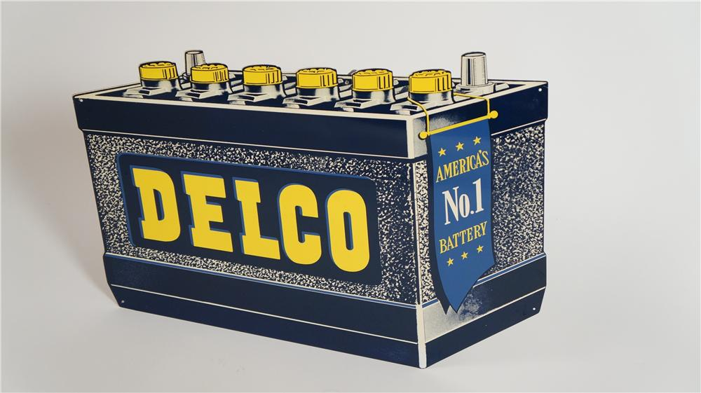 1950's Delco Batteries single-sided die-cut tin battery shaped automotive garage sign. - Front 3/4 - 174795