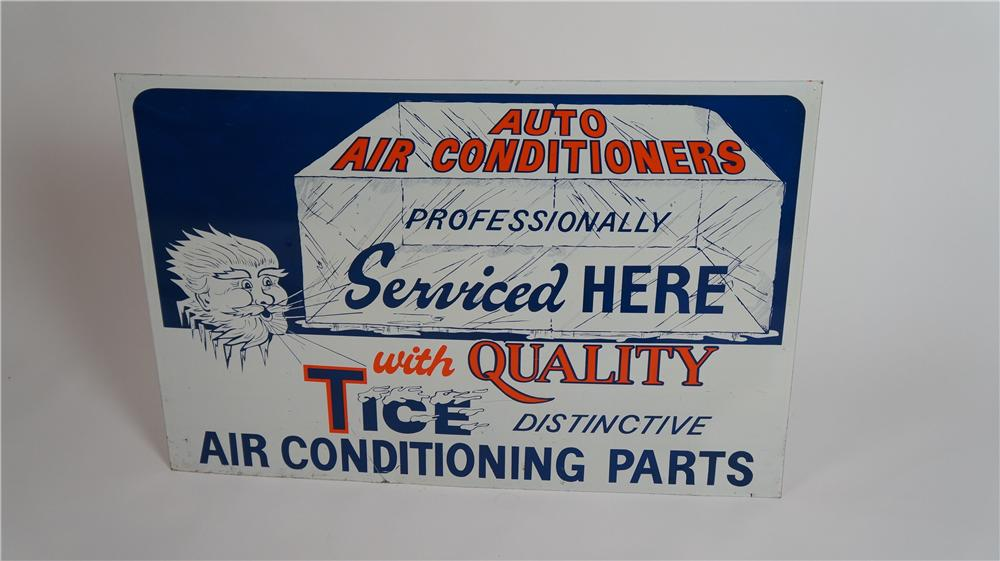 1940's Tice Distinctive Auto Air Conditioning Parts single-sided tin automotive garage sign - Front 3/4 - 174798
