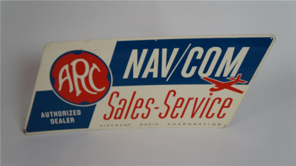 1960's Aircraft Radio Corporation Sales-Service single-sided tin airport maintenance hanger sign. - Front 3/4 - 174799