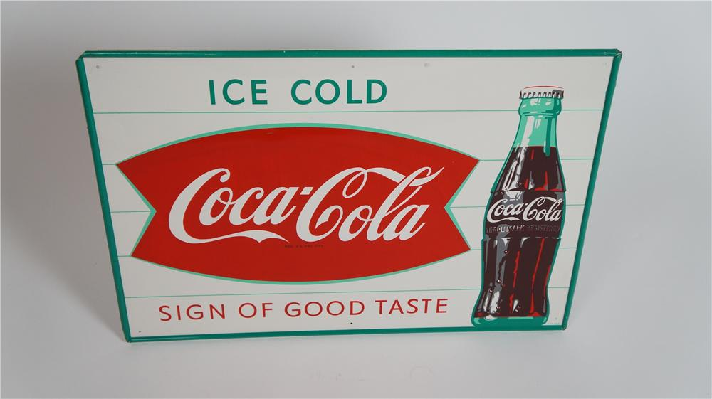 "N.O.S. 1950's Drink Coca-Cola ""Sign of Good Taste"" single-sided tin fishtail logo sign - Front 3/4 - 174802"
