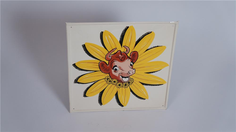 N.O.S. 1950's Borden's Ice Cream and Milk self framed tin diner sign featuring Elsie the Cow. - Front 3/4 - 174804