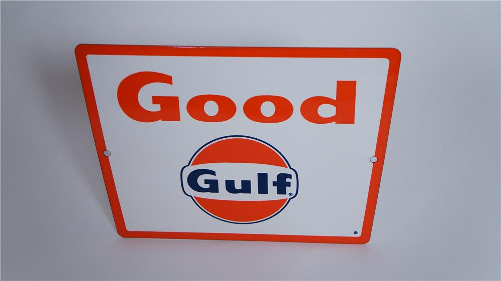 "N.O.S. late 1950's Gulf Oil ""Good Gulf"" porcelain pump plate sign with logo. - Front 3/4 - 174807"
