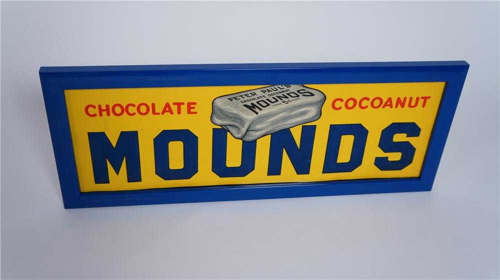 Museum quality 1920' Peter Paul's Mounds chocolate bar single-sided tin sign. - Front 3/4 - 174810