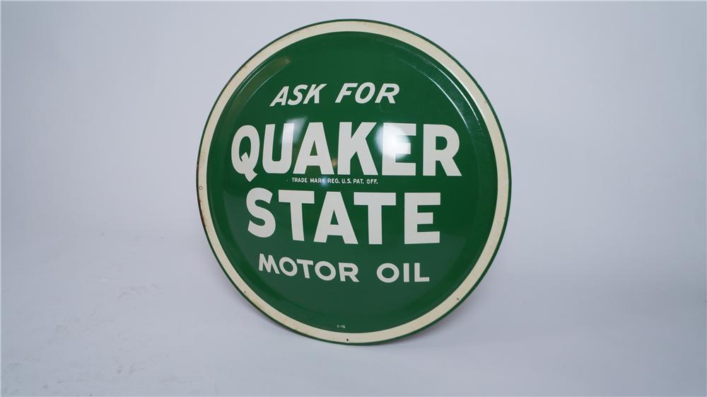 "N.O.S. 1960's Quaker State Motor Oil single-sided ""bulls-eye"" tin garage sign. - Front 3/4 - 174811"
