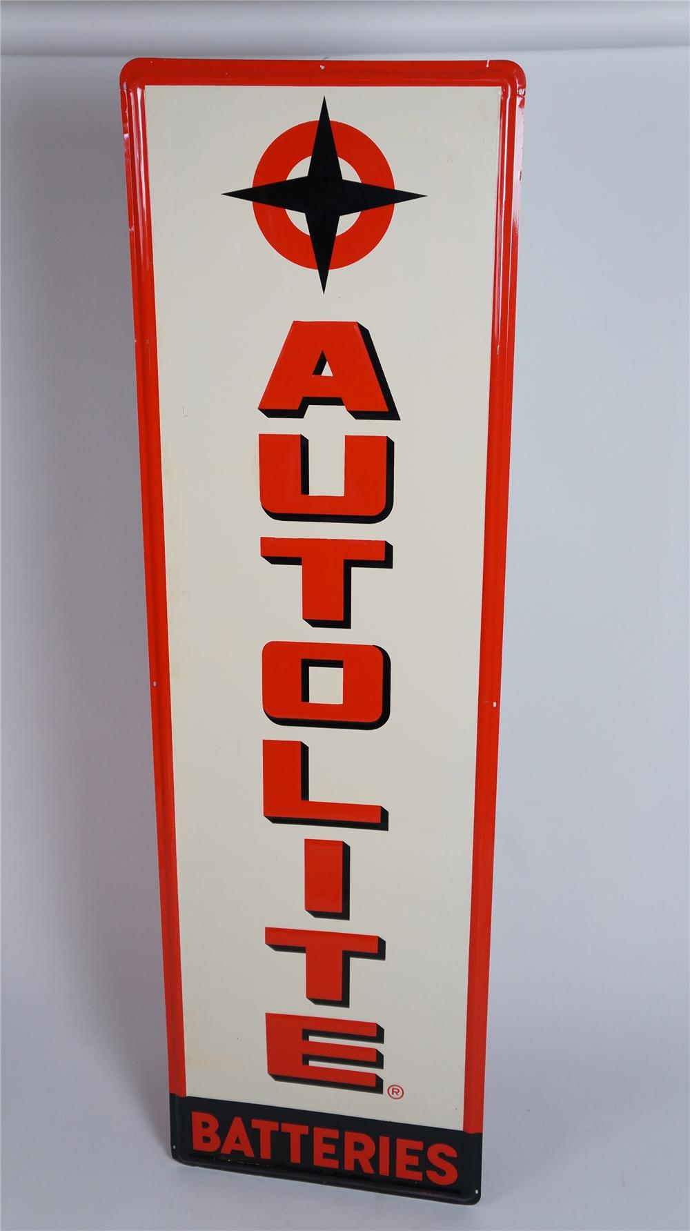 N.O.S. late 50's-early 60's AutoLite Batteries self-framed vertical tin automotive garage sign. - Front 3/4 - 174813