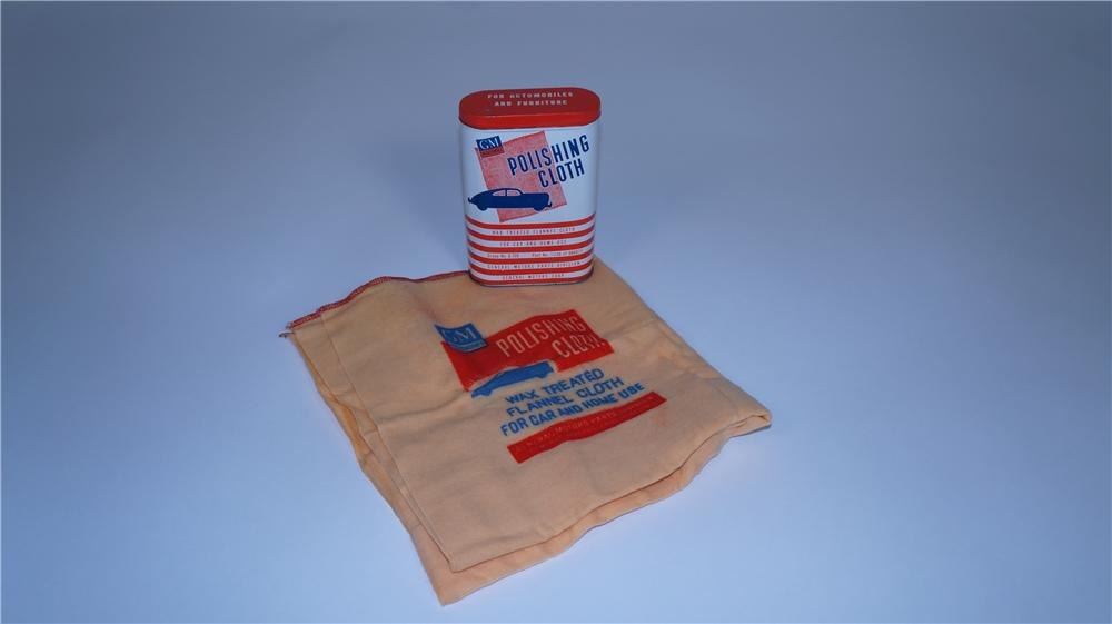 Late 1940's-early 50's GM Accessories Automotive Polishing Cloth tin complete with unused cloth - Front 3/4 - 174814