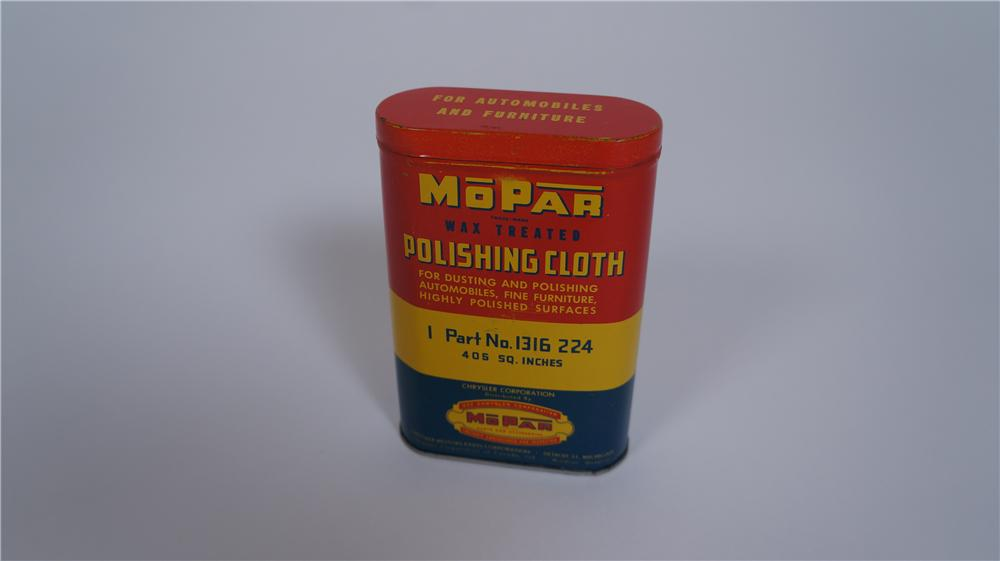 1950's Mopar Wax Treated Automotive Polishing Cloth tin complete with original cloth within. - Front 3/4 - 174815