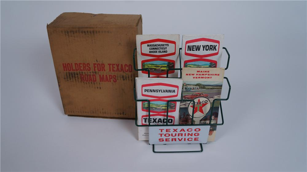 1950's-60's Texaco Touring Service  station counter-top road map display in original box. - Front 3/4 - 174817