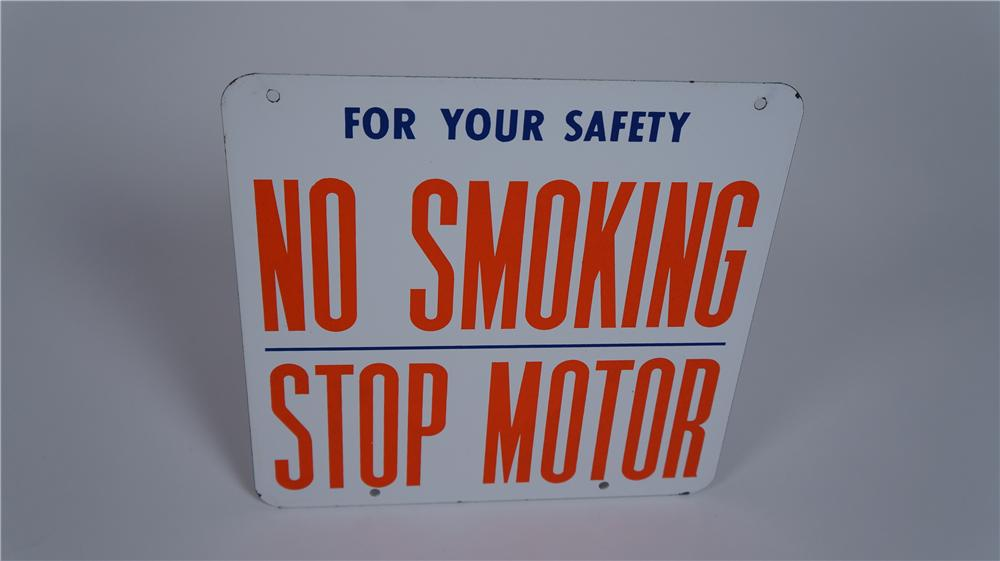 "Sharp 1950's Union 76 ""No Smoking - Stop Motor"" double-sided porcelain fuel island sign. - Front 3/4 - 174821"