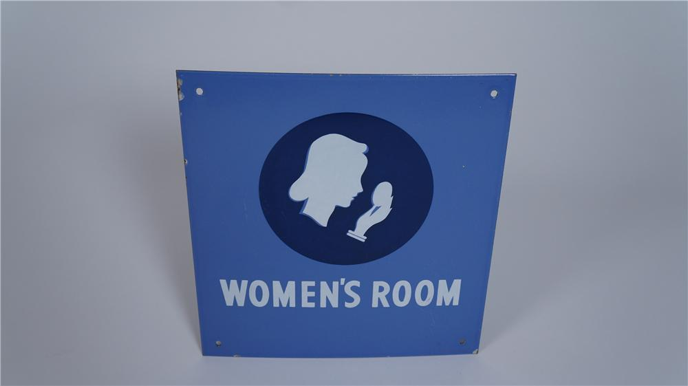 "Gorgeous 1940's Union 76 ""Women's Room"" single-sided porcelain service station sign - Front 3/4 - 174822"