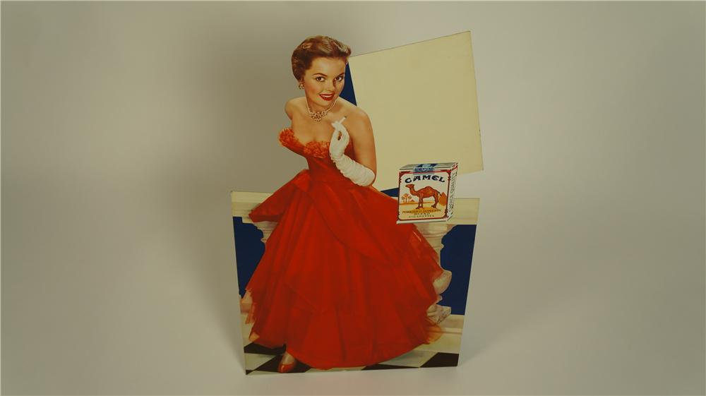 N.O.S. 1950's Camel Cigarettes service station easel backed cardboard display - Front 3/4 - 174824
