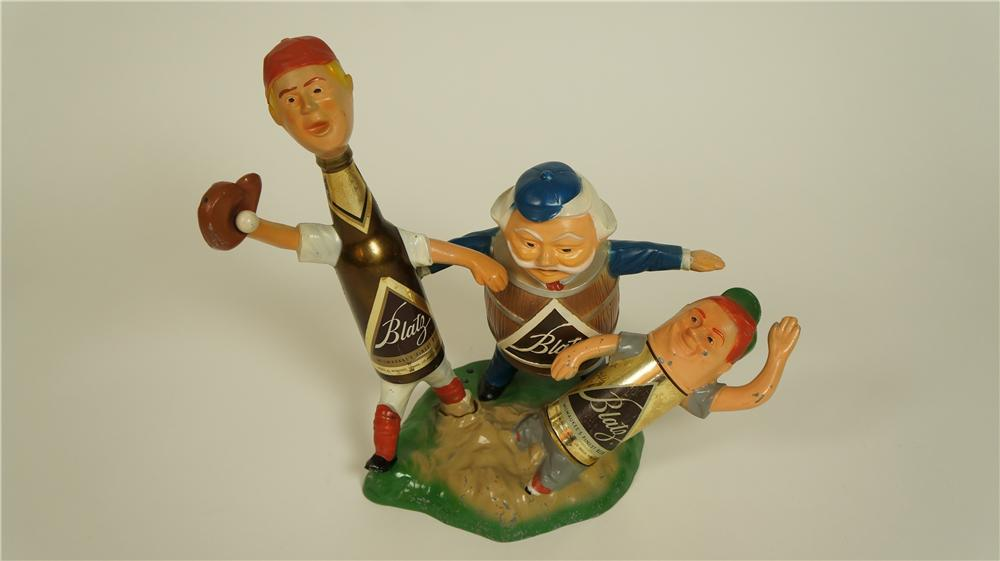 Nifty 1950's Blatz Beer cast metal and glass three-dimensional baseball themed tavern display. - Front 3/4 - 174826