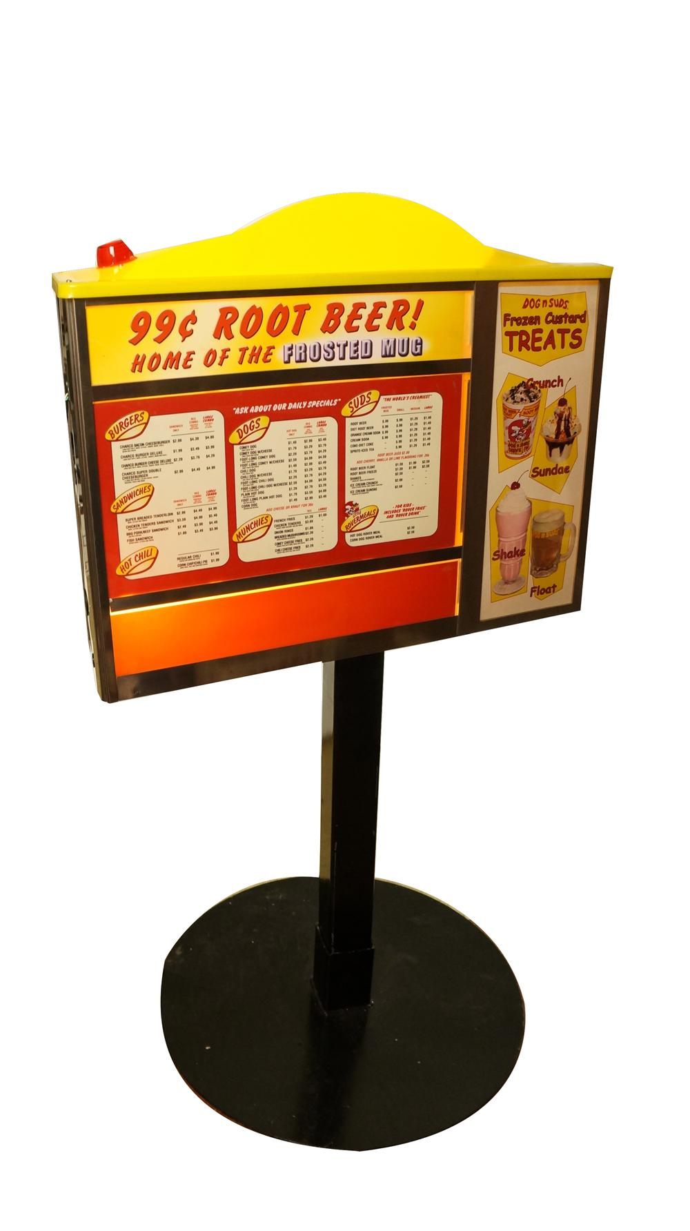 Choice vintage Dog's-N-Suds Drive-In car order light-up menuboard with speaker. - Front 3/4 - 174830